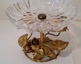 """Hollywood Regency Pedestal Dish Patterned Glass Top Gold Leaf Gilt Rose Base Vanity Soap Dish Candy Dish 1970's Miami Beach Home Decor 4"""""""