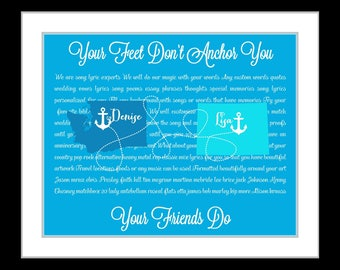 1 Best Friends Long Distance Map, Special Song Personalized Birthday Gift Ideas Friend Sister Cousin Love Bestie Present Custom Hometown