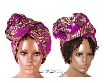 Traditional fabric headwraps / African Head wraps/ African hair accessory/ African Fabric/ purple/gold African Head scarf/ HT203