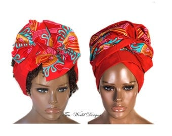 Head scarf/ African Hair Wrap/ Red Reversible/ African head wraps/ African Head scarf/ African Head Ties/  HT208