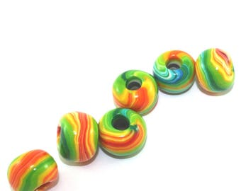 Dreadlock beads, hair beads, large hole beads, round pressed stripes beads, 6 macrame beads, polymer clay rondelle beads in green and yellow