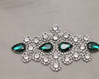 Emerald Green crystal applique, Beads rhinestone crystals applique, Wedding dress applique, Beaded,Sew/Iron applique, Dress applique