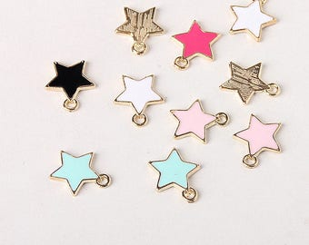 10 Assorted mix of star pendants, star pendant, star drip alloy small pendant jewelry supplies, earrings, necklace, bracelet charms