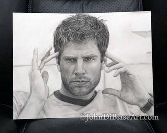 Original Graphite Pencil Drawing of James Roday as Shawn Spencer from TV's Psych (NOT a print)