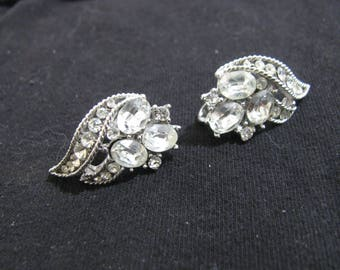 Trifari silver tone an rhinestone clip on earrings