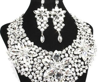 SALE SALE Bridal Statement Necklace, Crystal Bridal Necklace Set,  Crystal Wedding Necklace Set, Crystal Evening Necklace E 98