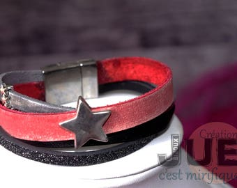 Leather star magnetic clasp bracelet