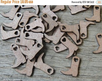 Summer SALE 100 Wood Cowboy Boots 3/4 inch tall, Little Wooden Confetti Engraved Boots - Rustic Wedding Decor- Table Decorations- Small Wood