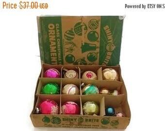 ON SALE Vintage Shiny Brite Christmas Ornaments Mercury balls Lot 14 with box