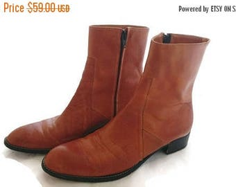 ON SALE Vintage Italian Leather Boots Ankle high Womens size 8 US labeled 38.5 caramel brown 1970s
