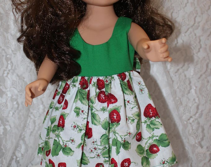 "Easter/Spring Green/ Strawberry Print Dress Bow, 18"" doll clothes handmade to Fit like American Girl, Free Shipping"