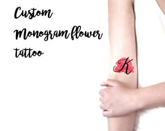 Tatuaggio temporaneo fiore personalizzato con la tua iniziale / Tatuaggio personalizzato per Matrimoni, Feste, Eventi / Tatuaggio monogramma