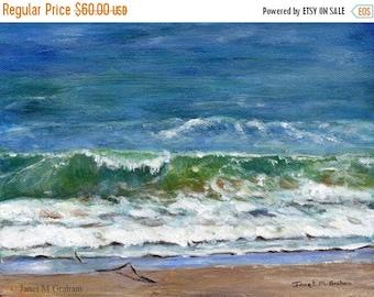 SALE Sea Ocean Australian Seascape Margate Beach SFA - Original hand painted seascape acrylic painting by Australian Artist Janet M Graham