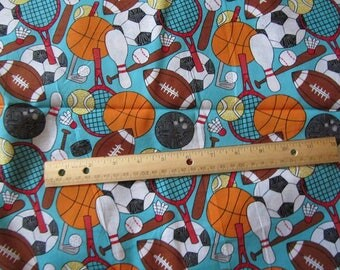 Blue With Sports Balls/Rackets/Bats Cotton Fabric by the Yard