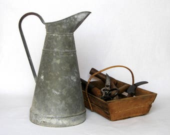 Vintage French Zinc Body Pitcher, chock-full of country charm!