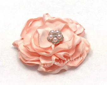 "3"" Satin Chiffon Flower-  Creamy peach burned Flower * layered blossom- Diy Headband flower"