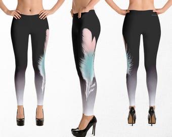 Feather Leggings, Exercise Clothing, Soft Pastels, Gym Clothes, Boho Yoga Pants, Tribal Dance Capris, Stretch Fabric Pants
