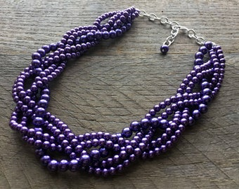Dark Purple Chunky Pearl Necklace, Multi Strand Wedding Necklace, Pearl Statement Necklace on Silver or Gold Chain