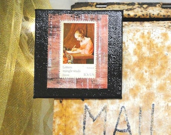 Vintage Postage Stamp Magnet 3 X 3 Letters Mingle Souls - Terborch Woman Writing
