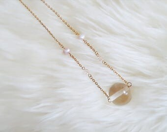 Gold Plated Necklace w/ fresh water pearls