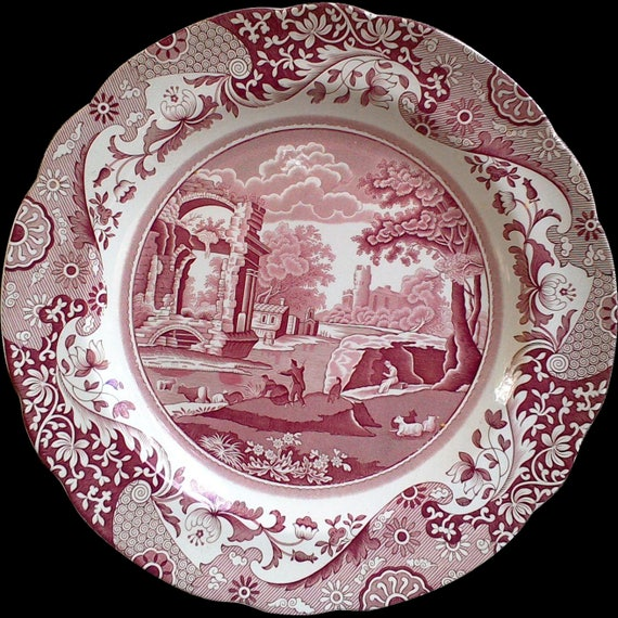 """Spode Red Plate, Spode Archive, """"Italian"""",  English Dinner Plate, Serving,  Red Transferware, 10 1/2"""" Round, Floral"""
