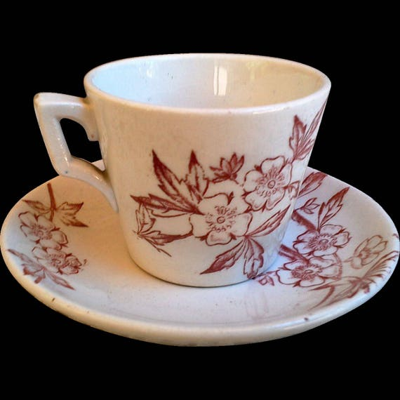 ANTIQUE Childs Transferware Floral Tea Cup and Saucer Set, Childs China, Circa 1800s, Ironstone