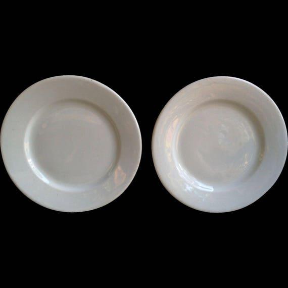"White Ironstone Plates, Set of 2, Antique Plain White Luncheon Side Plates, 8 1/4"", Shenango PA, French Country, Farmhouse Decor, Rustic"
