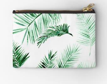 Palm Leaf Makeup Bag, palm leaf pouch, studio pouch, leaf makeup bag, leaf makeup pouch, palm leaves pouch, palm carry all, bridesmaid pouch