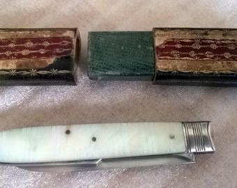 Antique Vintage George 3rd Mother Of Pearl  Fruit & Fork Knife With Original Box
