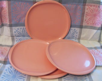 Four Bon Bon Pink Boonton Melmac/Melamine Dinner Plates, Mid Century, Atomic Era Design.