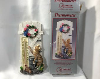 Spoontiques Thermometer Cat In The Garden, Handpainted Resin Gift Decoration NIB