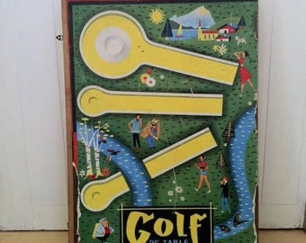 French vintage mini golf game. Vintage wooden boardgame. French board game goose. Game goose.