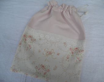 powdered small lingerie bag roses shabby old lace