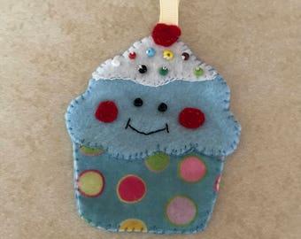 Felt cupcake ornament - blue