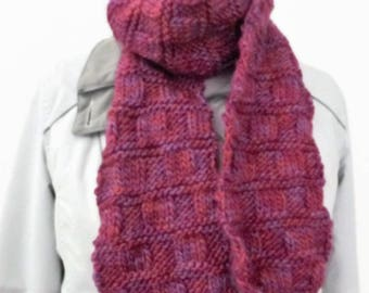 Raspberry fashionable scarf, homemade scarf, hand knit scarf, ladies scarf, purple long scarf, lightweight scarves, woollen scarves