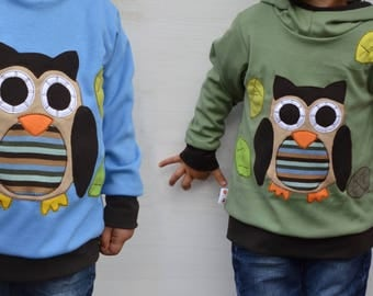 Twins children clothing,matching sweaters,owl,matching sibling outfits,twins kids,kids fall,kids spring,boy toddler,reversible hoodies set
