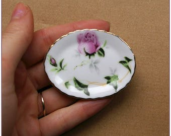 Large tray ceramic miniature rose gold plated x 1