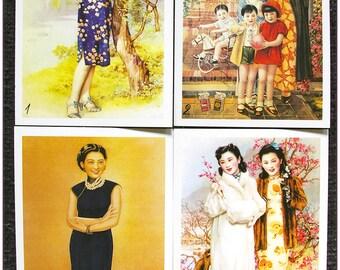 "Postcard style retro vintage Asian women pinup ""model 3"" x 1"