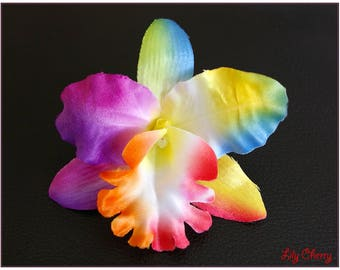 Flower artificial Orchid multicolor rainbow for x 1 hair clip