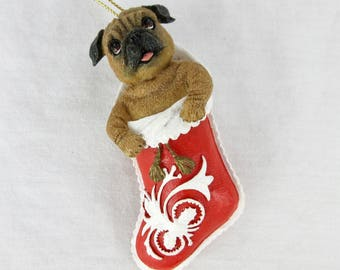Vintage Pug Puppy Christmas Tree Ornament / Christmas Stocking  / Gift for Dog or Pug Lover, Owner / Danbury Mint Pugs and Kisses