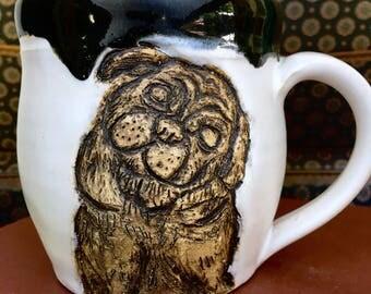 Pug Mug, Hand-Carved Pottery Mug, Ceramic Cup
