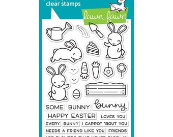 Lawn Fawn Clear Stamps and Matching Dies- Some Bunny, Easter, garden, friendship
