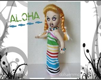 Living Dead Doll Clothes -  ALOHA - Tropical Dress and Jewelry Set - Handmade Custom Fashion by dolls4emma