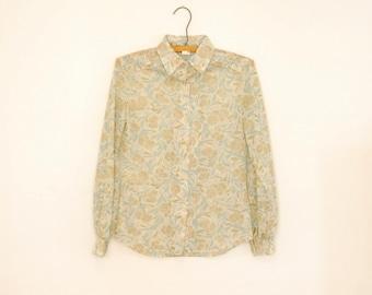 Floral Print Knit Blouse - 1970s