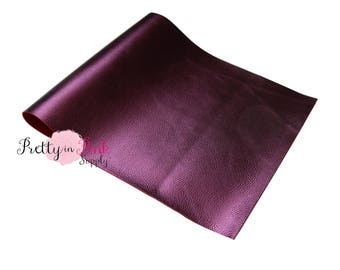 METALLIC Dark Plum- Red Backing Soft Faux Leather Fabric Sheet-Metallic Foil Fabric Sheet-A4 or A5 Leather Fabric Material-DIY Hair Bows 1mm