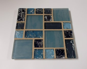"Blue Gray Glass Modern Mosaic Tile Trivet 6"" x 6"""