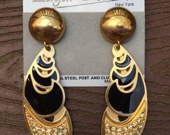 Stunning Vintage Edgar Berebi Runway Earrings New on Card Black & Gold with Rhinestones