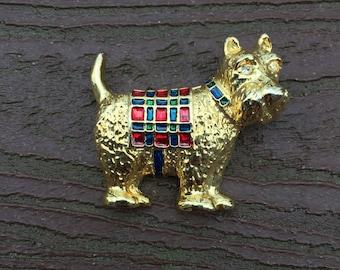 Vintage Jewelry Christmas Scottie Dog Pin Brooch