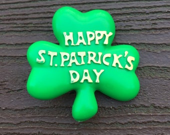 Vintage Jewelry American Greetings Happy St. Patrick's Day Lucky Shamrock Pin Brooch