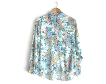 Vintage Floral Rayon Collared Shirt